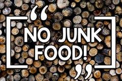 Запись примечания не показывая никакую высококалорийную вредную пищу Вещи еды стопа фото дела showcasing нездоровые пойти на диет стоковое изображение rf