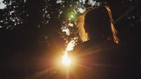 Задний взгляд: Силуэт девушки смотря заход солнца в парке Солнце красиво освещает ее светлые волосы видеоматериал