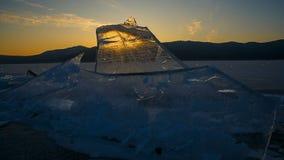 Заход солнца через ледяное поле Timelapse сток-видео