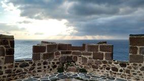 Заход солнца от замка стоковая фотография rf
