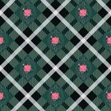 Зеленые шотландка тартана и картина цветков на checkered предпосылке для ткани бесплатная иллюстрация