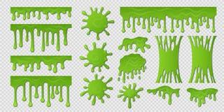 зеленый шлам Потек краски липкой жидкости, пугающие жидкостные границы, токсическая липкая форма на белизне Шарики и зеленый цвет иллюстрация штока