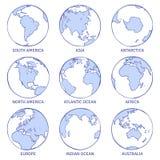 Земля эскиза Глобус руки мира карты вычерченный, континенты концепции круга земли контурит океаны планеты приземляется набор dood иллюстрация штока