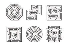 Знаки лабиринтов чернят тонкую линию набор вектор иллюстрация вектора