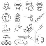 Знаки мафии и гангстера чернят тонкую линию набор значка вектор иллюстрация вектора