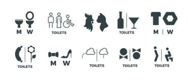 Знаки туалета Он она знаки направления bathroom символов, человека и женщины двери WC Значки вектора смешные пиктограммы уборной иллюстрация вектора