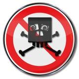 Знак запрета со смешным черепом жмурится иллюстрация штока