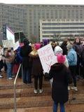 Знак козыря сброса, март женщин Вашингтон -го, DC, США стоковые фотографии rf