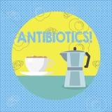 Знак текста показывая антибиотики Схематическое лекарство фото используемое в обработке и предохранении бактериальных инфекций иллюстрация штока