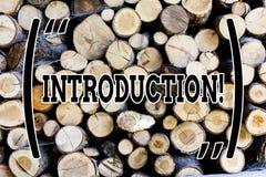 Знак текста показывая введение Часть схематического фото первая представления документа официального к аудитории деревянной стоковое изображение