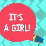 Знак текста показывая ему девушку S a Род схематического младенца фото женского приходя показывает пузырь речи цвета пробела торж стоковое фото