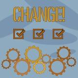 Знак текста показывая изменение Схематическое изменение перехода изменения диверсии регулировки изменения фото иллюстрация штока