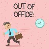 Знак текста показывая из офиса Схематическое фото вне работы никто в отдыхе перерыва дела ослабляет время иллюстрация вектора