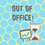 Знак текста показывая из офиса Схематическое фото вне работы никто в отдыхе перерыва дела ослабляет время бесплатная иллюстрация