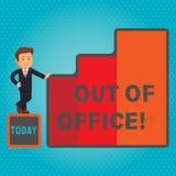 Знак текста показывая из офиса Схематическое фото вне работы никто в отдыхе перерыва дела ослабляет время иллюстрация штока