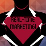 Знак текста показывая маркетинг в реальном времени Схематическое фото создавая стратегию сфокусированную на настоящих уместных те иллюстрация вектора