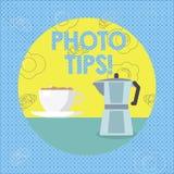 Знак текста показывая подсказки фото Схематические предложения фото для того чтобы прислушаться хорошие изображений для большой ф иллюстрация штока