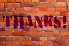 Знак текста показывая спасибо Искусство кирпичной стены признательности подтверждения схематическому благодарности фото приветств стоковые фотографии rf