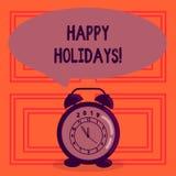 Знак текста показывая счастливые праздники Схематическое приветствие фото празднуя праздничные дни иллюстрация вектора