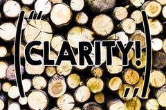 Знак текста показывая ясность Схематическая точность прозрачности усвояемости очищенности точности определенности фото деревянная стоковое фото