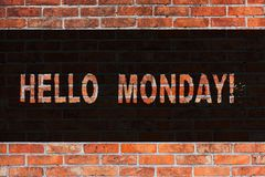 Знак текста показывая Hellomonday Сообщение схематического фото положительное для нового искусства кирпичной стены начала недели  стоковое изображение rf