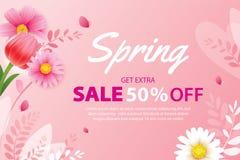 Знамя продажи весны с зацветая шаблоном предпосылки цветков Дизайн для рекламировать, летчики, плакаты, брошюра, приглашение, иллюстрация вектора