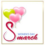 Знамя дня счастливых женщин на белой иллюстрации вектора предпосылки иллюстрация вектора