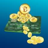 Знамя сети с золотым bitcoin и темно-синей предпосылкой Вектор запаса стоковое фото