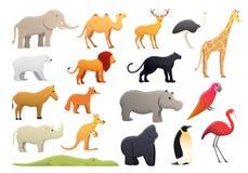 Значки набор зоопарка парка, стиль мультфильма иллюстрация вектора