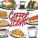 Значки на кафе и завтраки иллюстрация штока
