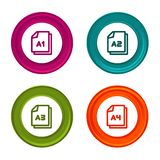 Значки размера бумаги A1 A2 A3 A4 Символ документа Красочная кнопка сети с значком иллюстрация штока