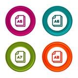 Значки размера бумаги A5 A6 A7 A8 Символ документа Красочная кнопка сети с значком бесплатная иллюстрация