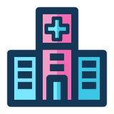 Значок больницы медицинский заполнил линию цвет пинка голубой иллюстрация штока