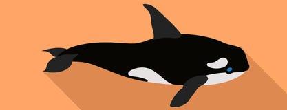 Значок кита косатки, плоский стиль иллюстрация вектора