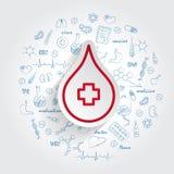 Значок донорства крови и handdrawn здравоохранение doodles предпосылка, помогают больному и нуждающийся иллюстрация штока