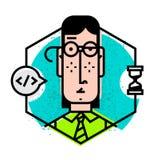 Значок человека в плоском стиле Икона вектора изолированная на белой предпосылке Изображение молодого человека готово для места и стоковое фото