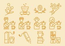 Значок dripper кофе с процессом заваривать иллюстрация вектора