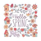 Здравствуйте, весна! Гнезда птицы и цветки весны также вектор иллюстрации притяжки corel бесплатная иллюстрация