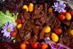 Здоровая предпосылка подноса еды, конец-вверх Поставляя еду таблица шведского стола свадьбы стоковые изображения