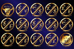 Золотая валюта валют спаривает монетку и символ бесплатная иллюстрация