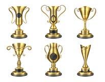 золотистый трофей Реалистическая изолированная чашка, шаблоны дизайна награды, приз звезды победителя состязания 3D Набор вознагр иллюстрация вектора