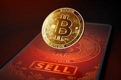 Золотое положение bitcoin на экране с большой кнопкой НАДУВАТЕЛЬСТВА Надувательство Bitcoin в концепции паники перевод 3d иллюстрация вектора