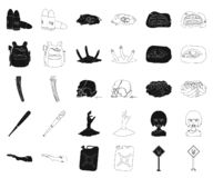 Зомби и атрибуты чернят, конспектируют значки в собрании комплекта для дизайна Мертвая иллюстрация сети запаса символа вектора че иллюстрация вектора