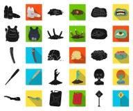 Зомби и атрибуты чернят, плоские значки в собрании комплекта для дизайна Мертвая иллюстрация сети запаса символа вектора человека иллюстрация вектора