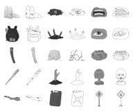 Зомби и атрибуты monochrome, значки плана в установленном собрании для дизайна Мертвая сеть запаса символа вектора человека иллюстрация вектора