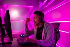 Игра выигрыша gamer спорта кибер стоковая фотография rf