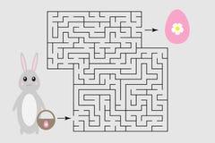Игра лабиринта пасхи, помогает зайчику найти путь из лабиринта, милого персонажа из мультфильма, preschool деятельности при рабоч бесплатная иллюстрация