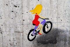 Изображение велосипедиста на бетоне стоковое изображение rf