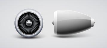 Изолированная турбина двигателя, вектор двигателя плоский Мотор лезвия turbo воздушных судн Двигатель взгляда лицевой стороны сам бесплатная иллюстрация