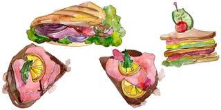 Изолированный сэндвич в стиле акварели Элемент иллюстрации фаст-фуда Watercolour на белой предпосылке иллюстрация вектора